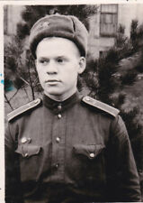 1960s Handsome boy recruit soldier in hat military vintage Russian Soviet photo