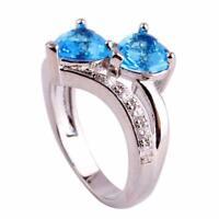 Heart Cut Rainbow White Topaz Gemstone Silver Ring Size 6 7 8 9 10 11 12 Jewelry