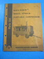 ROTA SCREW MODEL SP900 D PORTABLE COMPRESSOR 1964 GARDNER PARTS MANUAL