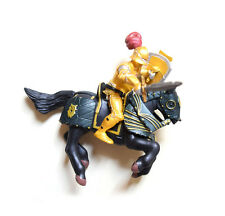 Papo Word of Knights Tournament Golden Armor Knight With Black Horse Figurine