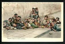 Napoli :Dolce far niente . Lazzaroni -  cartolina viaggiata nel 1909