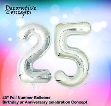 """Giant 25th Birthday Party 40"""" Foil Balloon Helium Air Decoration Age 25 SILVER"""
