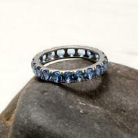 2.50 Ct Round Blue Topaz Eternity Wedding Band Ring 14k White Gold Over Jewelry