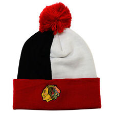 Mitchell Ness Retro Over and Back Cuffed Pom Beanie Knit Chicago Blackhawks