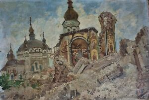 RARE Pyotr Yakovlevich Anurin 1914 -1991 sign stamped oil Russian painting 1951
