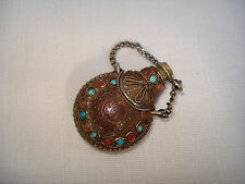 Petit Flacon oriental Pendentif de chatelaine - Antique miniature Scent Bottle