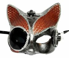 Steampunk Leather Cat Masquerade Mardi Gras Mask Brushed Silver Brown