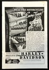 1939 Harley Davidson *We'll Take Motorcycling Every Time* vintage Motorcycle AD