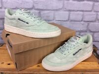 REEBOK MENS UK 5 EU 37.5 MINT GREEN SAGE MIST SUEDE CLUB C 85 PASTELS TRAINERS
