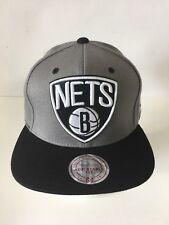 Mitchell & Ness Brooklyn Nets Gray Black Retro Snapback Hat Cap NBA logo