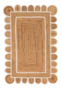 Scallop Rug 100% Natural Jute Style Breided Reversible  Modren Carpet Area Rug