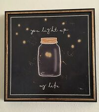 """You Light Up My Life"" Framed Wall Art Black Plaque Sign Fireflies 13""x13"""