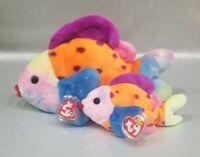 Ty Buddy + Beanie Baby - LIPS the fish - Plush Stuffed Toy - Rainbow Colorful