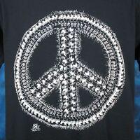 vintage 80s SKULL PEACE SIGN PAPER THIN T-Shirt LARGE punk biker skeleton rock