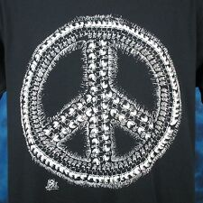 vintage 80s Skull Peace Sign Paper Thin T-Shirt Large punk biker skeleton rock