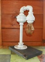 Retro Industrial Vintage Steampunk White Waterspout style Lamp with  edison bulb