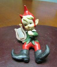 "Vintage Ceramic Christmas Figurine- Elf- Pixie- Green Plays Harp- Taiwan ~ 4.0"""