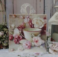 """Shabby Chic ~ Vintage ~ Country Cottage style ~ Wall Decor Sign """"Teacup & Roses"""""""
