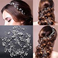 Damen Party Hochzeit Haarband Brautschmuck Haardraht Stirnband Strass Perlen DE