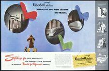 1946 streamlined future train bus art Goodall Fabrics vintage print ad