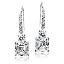 Sterling Silver 5ct Asscher-Cut Cubic Zirconia Dangle  Earrings