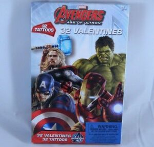 32 Count Marvel Avengers Age of Ultron Valentines Day Cards W/ Tattoos Classroom