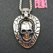 """Cráneo con alas Collar//Colgante Con Cordón Negro 16/"""""""
