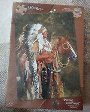 "Master Pieces ""They Call Me Wolf"" 550 pc Jigsaw Puzzle Native American Indian"