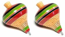 (2 Pack) Mexican Classic Wooden Spin Tops / Trompo de Madera (Assorted Colors)