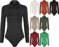 Womens Long Sleeve Cowl Polo Neck Stretch Bodycon Leotard Top Ladies Bodysuit