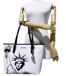 Michael Kors New York City Statue of Liberty Medium Carryall Tote Bag White MK