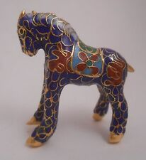 Cloisonne Mini Blue Standing Horse New Small Red Flower Floral Pony