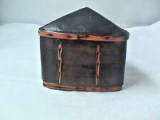 "Thailand hand made wood & Bamboo Tobacco Trinket box 5"" X 4.25"" triangle"