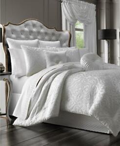 J Queen New York White Astoria Queen Comforter 4 Piece Set. Shams + Bedskirt