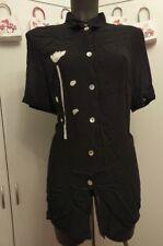 Bluse Schwarz mit floralem Muster in Weiß Gr L von Bonita