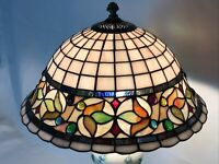 Vtg Stained Slag Glass Lamp Shade Arts & Crafts Mission Deco Tiffany Style 15""