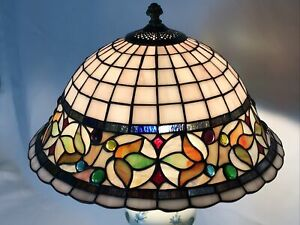 """Vtg Stained Slag Glass Lamp Shade Arts & Crafts Mission Deco Tiffany Style 15"""""""