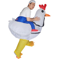 Rooster Rider Inflatable Chicken Costume for Adult Halloween Cosplay Party Dress