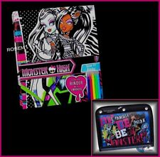 Monster High Decorate your own Velvet Art 3-RING BINDER 5 MARKERS + PENCIL CASE