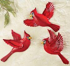 """Cardinal Red Birds Trio Metal Hanging Wall Art 3-PC Set Indoor Outdoor 8""""x11"""" Ea"""