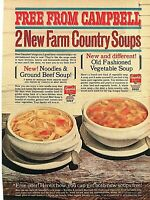 Vintage Ad Print Campbell's Farm Country Soups. 1964,  8 x 11.