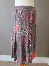 MARKS & SPENCER Ladies Khaki & Pink Floral Elasticated Skirt Size 12 Length 27""