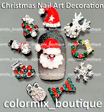 NEW 10pcs Bijoux ongles 3D christmas nail art tip décorations strass #XM_01