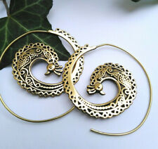 Peacock hooped earrings ethnic brass gold colour hippy Indian boho jewellery