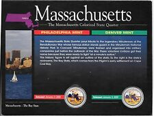 2000 P & D Massachusett Colorized State Quarters, in Display Card No COA.