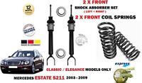 FOR MERCEDES ESTATE E200T E220T E270T 2003> 2x FRONT SHOCKERS + COIL SPRINGS SET