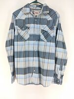 Levi's Pearl Snap Western Shirt Mens Sz Small Blue Plaid (f)