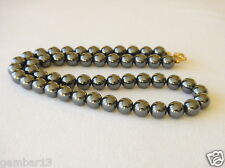 "Hematite Necklace 8mm beads 22"" Haematite 8 mm Beads Genuine Natural Grey Colour"