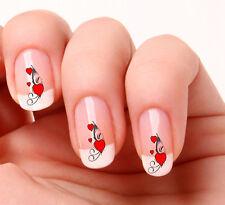 20 Pegatinas de las transferencias de calcomanías de Arte de Uñas #113 - Corazones rojos del remolino día de San Valentín