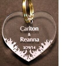 50 FIREMAN FIREFIGHTER FLAMING HEART KEYCHAIN ORNAMENT PARTY FAVORS PERSONALIZED